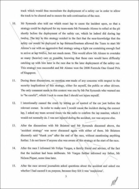 Piquet Jr's Officlal Statement