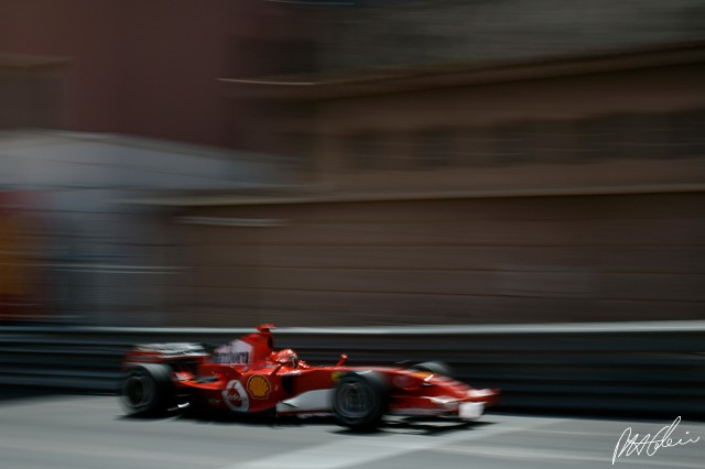 Schumacher begins to position his car on the side of Rascasse turn at Monaco.